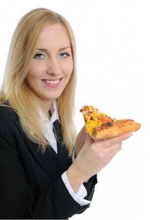 Smiling business woman with pizza isolated on white background photo