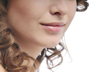 Detail of young woman face make up (mouth and nose detail) - isolated on white background photo