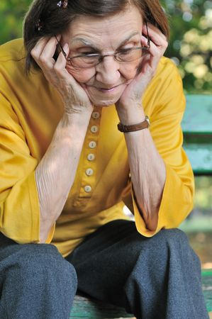 Solitude - portrait of worried senior woman Stock Photo - 5591652