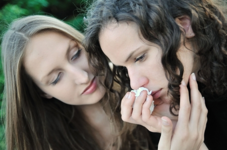 Friends series - detail of two teenage girls, one comforts and regrets another Stock Photo - 5661191