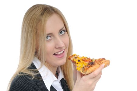Young smiling business woman prepared to eat pizza isolated on white background photo