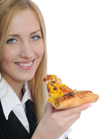 Young beautiful business woman eating pizza isolated on white background photo
