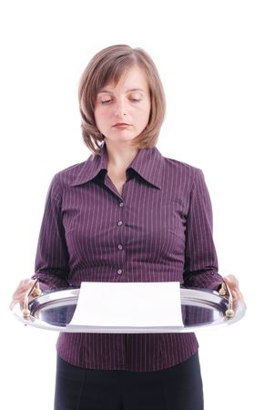 brings: Business woman brings letter with copy space on tray - isolated