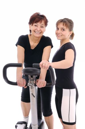 Spinning senior woman with coach Stock Photo - 6169654