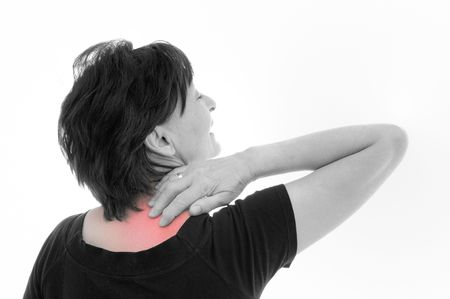 Senior woman with neck pain (marked red) - rear view, isolated on white background Stock Photo - 6254290