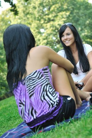 Youth lifestyle - conversation of two young friends (girls) siting on rug laid in grass outdoors  (park). Stock Photo - 6448130