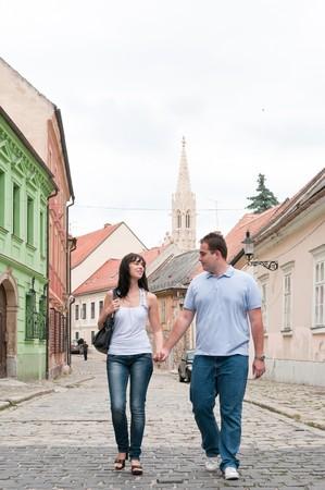 bratislava: Young couple walking in old town of Bratislava (capital of Slovakia)