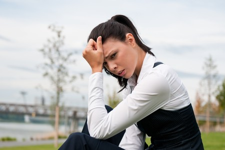 Headache - young business woman Stock Photo - 7807764