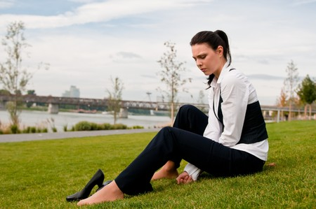 Depressed young business woman Stock Photo - 7807722