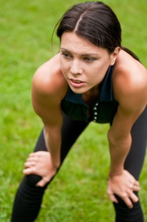 Relax - tired woman after sport Stock Photo - 7955060