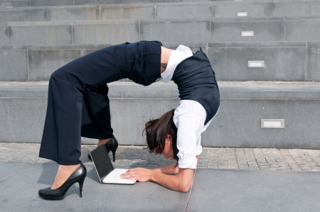 Flexible business - woman with laptob Stock Photo - 8095180