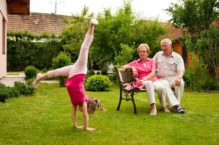 Happy retirement with grandchild photo