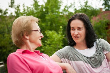 Outdoors talking - women Stock Photo - 10461400