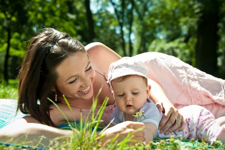 Happy time - mother with baby Stock Photo