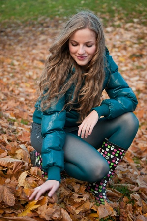 healthy llifestyle: Fall scene - happy woman