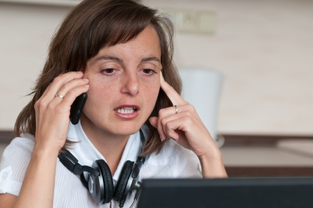 On the phone - work from home Stock Photo - 10979970