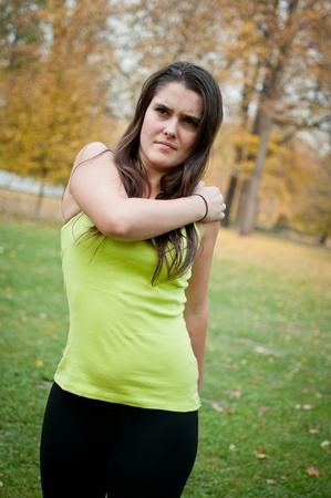 Shoulder injury - young woman in pain Stock Photo - 12082846