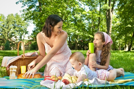 Picnic - mother with children photo