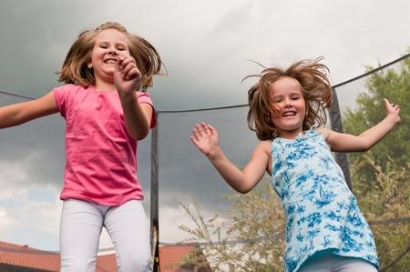 trampoline: Big fun - childdren jumping trampoline