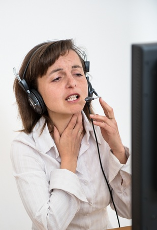 Il business woman with throat pain photo