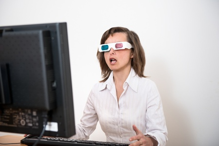 Awe - business person with 3d glasses Stock Photo - 13216281