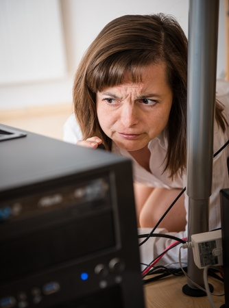 computer help: Computer problem - business woman need help Stock Photo