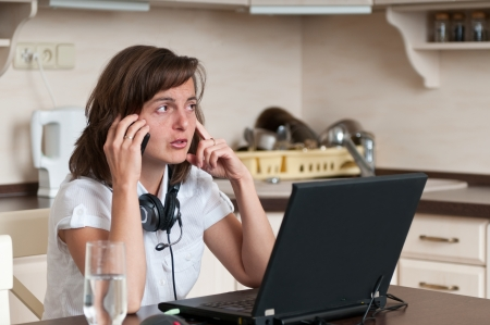 On the phone - work from home Stock Photo - 13649497