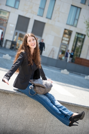 Young woman -  casual fashion outdoor portrait photo