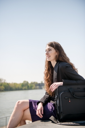 Business woman portrait - relaxing in nature Stock Photo - 13649514