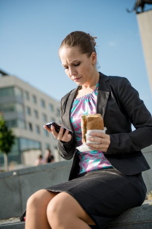 suit skirt: Business woman eating - problems