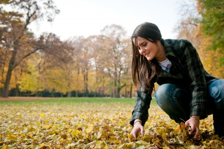 healthy llifestyle: Young woman in fall season Stock Photo