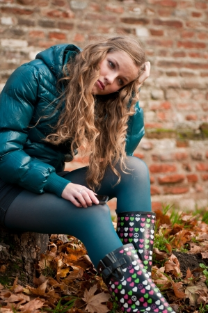 Teenager  young woman  depressed outdoors photo