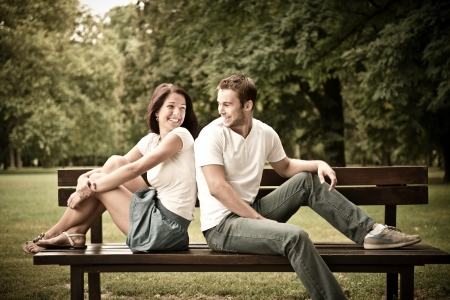 tenager: Young beautiful couple dating Stock Photo
