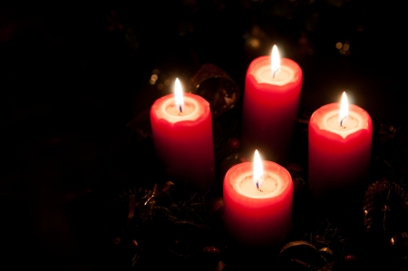 pine wreath: Christmas advent wreath with burning candles Stock Photo