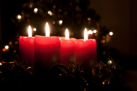 advent candles: Christmas advent wreath with burning candles Stock Photo