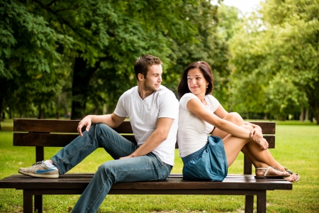Young beautiful couple dating photo