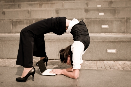 Flexible business - woman with notebook photo