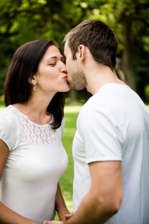 tenager: Young kissing couple in love