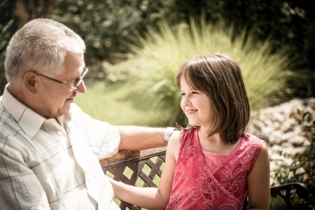 joyous: Joyous life - grandfather with grandchild Stock Photo