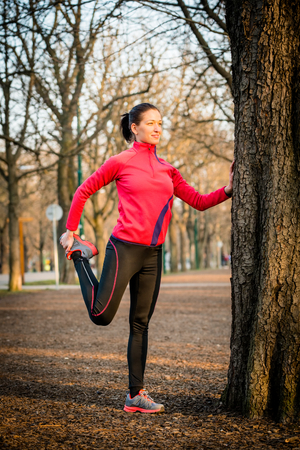 warm up: Woman Warm up before exercise Stock Photo