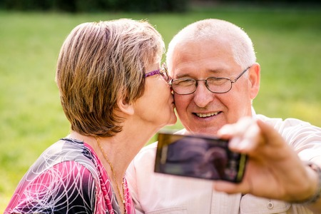 happy old age: Capturing moments - senior couple