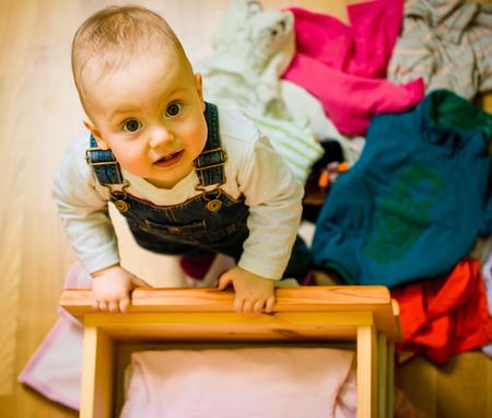 Huishoudelijke taken - op heterdaad betrapt Stockfoto