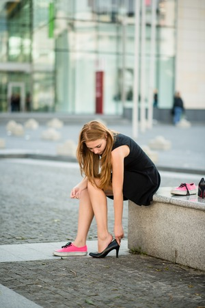Changing shoes photo