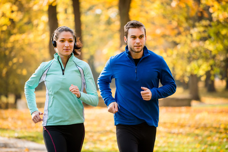 Vrienden samen joggen Stockfoto
