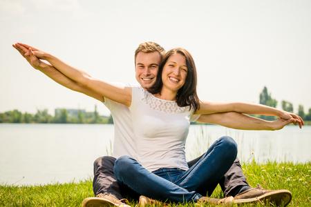 feeling happy: Feeling free - young happy couple