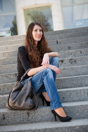 casual fashion: Young woman in casual fashion outdoor portrait