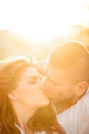 love kissing: Couple in love kissing Stock Photo