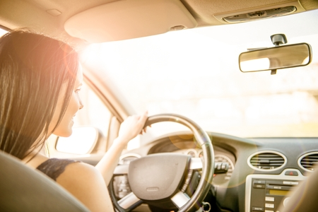 Woman Driving car Stock Photo