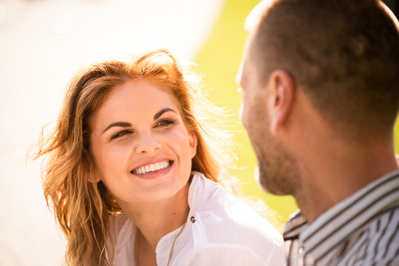 two people talking: Couple feeling good together