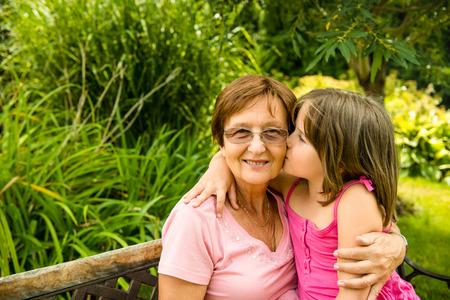 grandchild: Happiness - together with grandchild Stock Photo